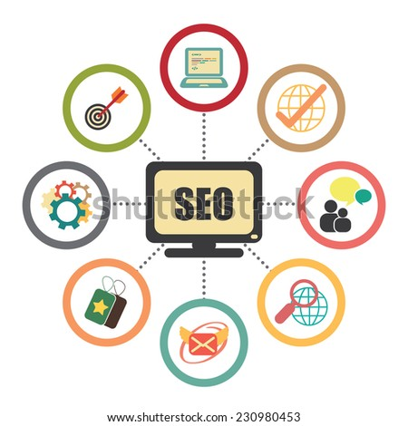 SEO, Search Engine Optimization Concept With Group of Social Media or Social Network Icon Isolated on White Background - stock photo