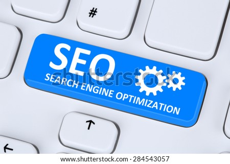 SEO Search Engine Optimization for websites on the internet on computer - stock photo
