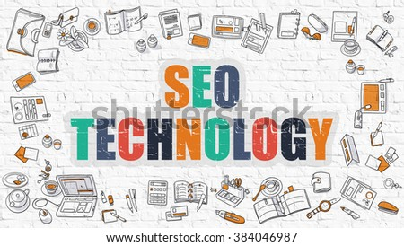 SEO - Search Engine Optimization - Technology Concept. Modern Line Style Illustration. Multicolor SEO - Search Engine Optimization - Technology Drawn on White Brick Wall. Doodle Icons.  - stock photo