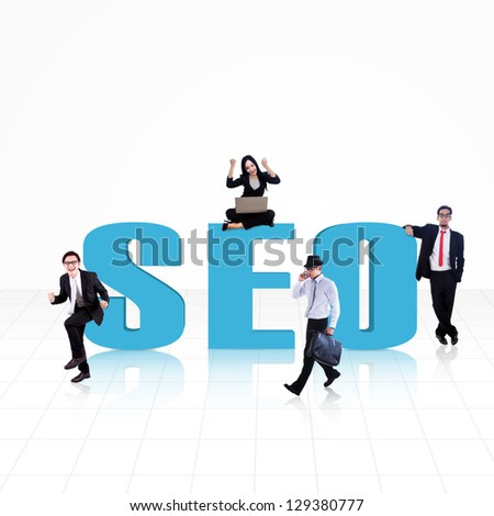 SEO (Search Engine Optimization) word surround with business people on white - stock photo