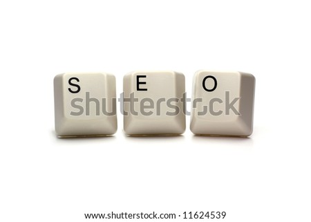 seo - search engine optimization written with computer keys, isolated on white - stock photo