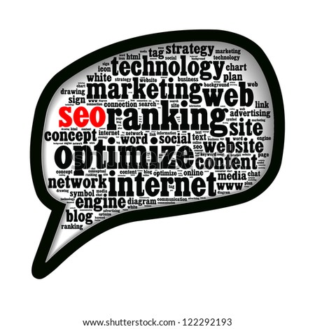 SEO search engine optimize word clouds in call-out shape isolated in white background - stock photo