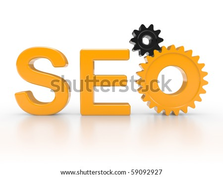 SEO - Search Engine symbol with gears - stock photo