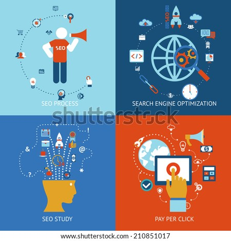 SEO. Set of banners for web, mobile and apps, pay per click and internet advertising - stock photo