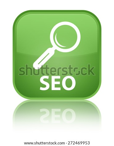 Seo soft green square button - stock photo