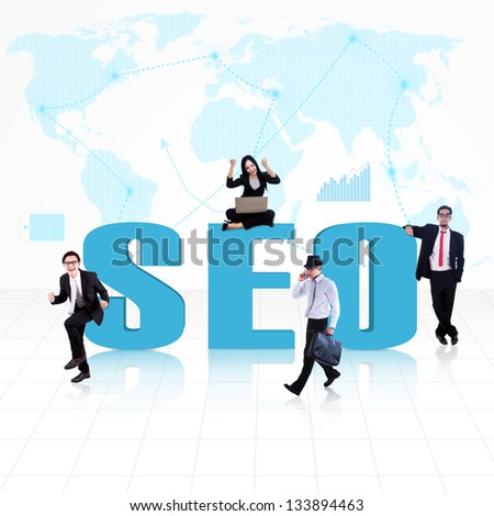 SEO symbol of Search Engine Optimization with business people surround it - stock photo