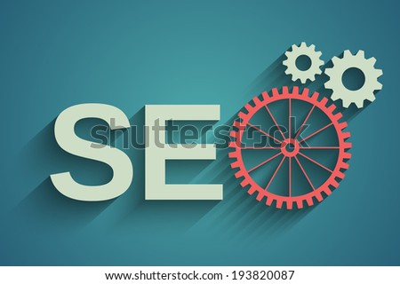 Seo tag with gear wheel - stock photo