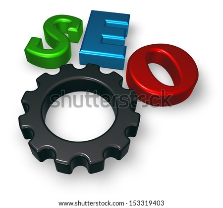 seo tag with gear wheel - 3d illustration - stock photo