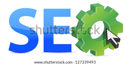 seo tag with gear wheel illustration design over a white background - stock photo