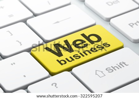 SEO web development concept: computer keyboard with word Web Business, selected focus on enter button background, 3d render - stock photo