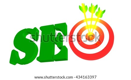 SEO with target and arrow, 3D illustration - stock photo