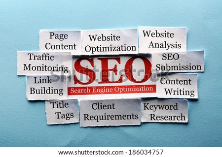 SEO  Word Cloud  printed on  paper on blue font - stock photo