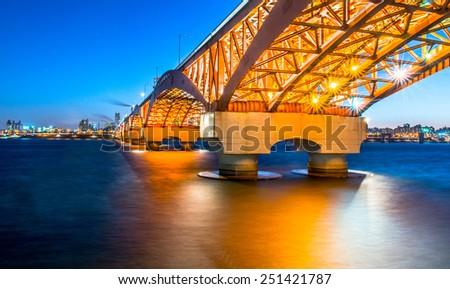 Seongsan Bridge at Night  - stock photo