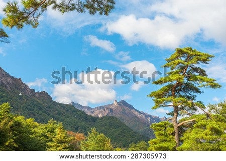Seorak fall view in the morning light, Seoraksan National Park, South korea - stock photo