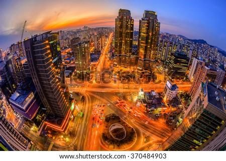 Seoul City and Downtown skyline in Seoul, South Korea - stock photo