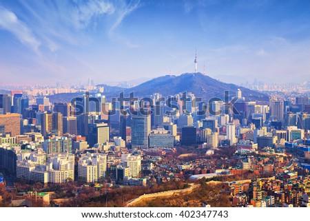 Seoul City , South Korea. - stock photo