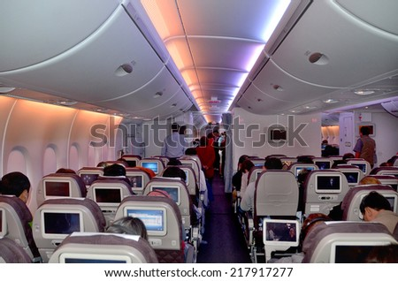 SEOUL SOUTH KOREA APRIL 9: Inside the Airbus A380 before departure on april 9 2013 in Seoul South Korea. A380 is the world's largest passenger airliner  - stock photo