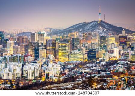 Seoul, South Korea city skyline. - stock photo