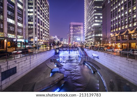 Seoul, South Korea cityscape at Cheonggye Stream. - stock photo