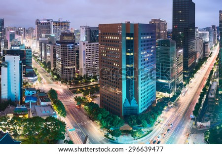 SEOUL, SOUTH KOREA - 19 JULY 2013: Aerial view of Jongno-Gu district in the heart of Seoul city. South Korea - stock photo