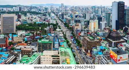 SEOUL, SOUTH KOREA - 19 JULY 2013: Aerial view of Jongno-Gu district in the heart of Seoul city. South Korea - stock photo