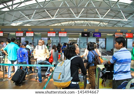 SEOUL SOUTH KOREA JUNE 10: Incheon International Airport is the largest airport in South Korea, the primary airport serving the Seoul National Capital Area, On June 10 2013 in Seoul South Korea. - stock photo