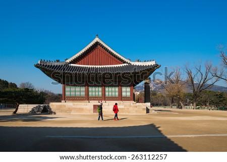Seoul, South Korea - MAR 04, 2015: Changdeokgung Palace was the second royal villa built following Gyeongbukgung Palace in 1405. It was the principal palace for many of the Joseon kings. - stock photo