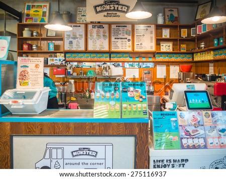 Seoul, South Korea - 1 March, 2015 : Sweet Monster Shop. The signature Popcorn ice cream is favorite dessert in Seoul, South Korea.  - stock photo