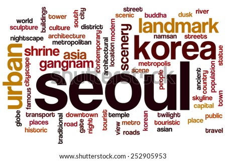 Seoul word cloud concept - stock photo