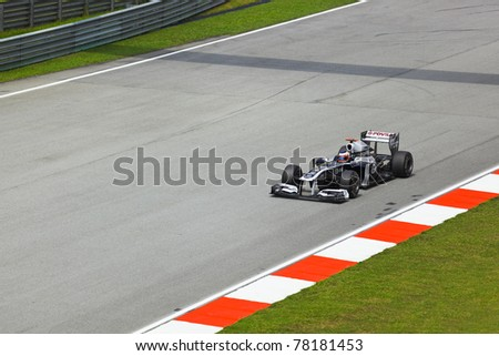 SEPANG, MALAYSIA - APRIL 8: Rubens Barrichello (team AT&T Williams) at first practice at the Formula 1 GP on April 8 2011 in Sepang, Malaysia - stock photo