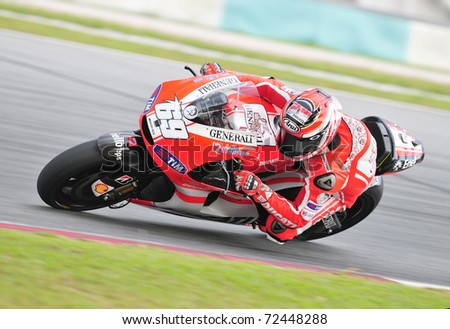 SEPANG, MALAYSIA-FEB 24: Nicky Hayden of Ducati Marlboro Team at MotoGP Official Test Sepang 2 on Feb 24, 2011 in Sepang, Malaysia. - stock photo