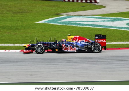 SEPANG, MALAYSIA - MARCH 23: Mark Webber (team Red Bull Racing) at second practice on Formula 1 GP, March 23 2012, Sepang, Malaysia. - stock photo