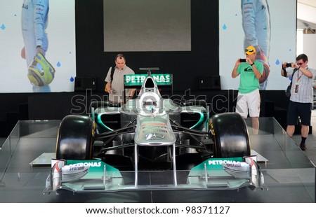 SEPANG, MALAYSIA-MARCH 23: Mercedes F1 car display during Petronas Malaysian Grand Prix  at Sepang F1 circuit on March 23, 2012 in Sepang, Malaysia. - stock photo