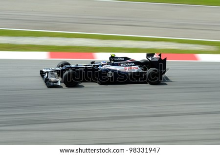 SEPANG, MALAYSIA - MARCH 23 : Williams-Renault Team Bruno Senna Rosberg action on track during Petronas Malaysian Grand Prix second practice session at Sepang F1 circuit March 23, 2012 in Sepang - stock photo