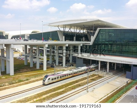 SEPANG, MALAYSIA - MAY 09 , 2014: A general view of Kuala Lumpur International Airport 2 (KLIA2) on May 9, 2014 in Sepang, Selangor, Malaysia. The 2nd terminal is catered for low cost airlines. - stock photo