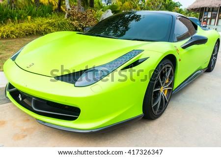 SEPANG, MALAYSIA - MAY 8, 2016: Ferrari 458 Italia parking on the side road. Photo at AVANI Sepang Goldcoast, Bagan Lalang road. - stock photo