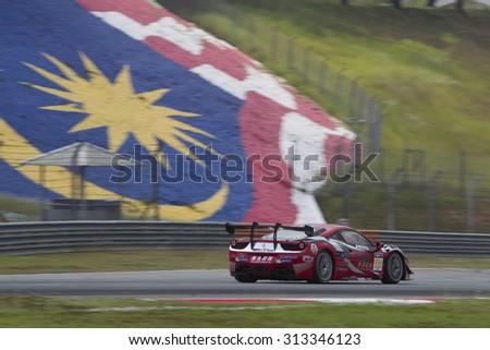 Sepang, Malaysia - September 5, 2015 : Italian Ferrari Car No 78 enters turn 3 at Asian Festival of Speed Race, Sepang, Malaysia  - stock photo