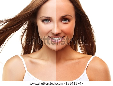 Separated face - stock photo