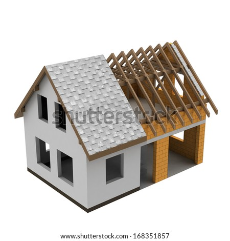 separated two building construction phases illustration - stock photo