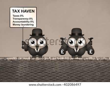 Sepia bird businessman holding bags of money deposited in a tax haven paying no tax and shrouded in secrecy UK version - stock photo