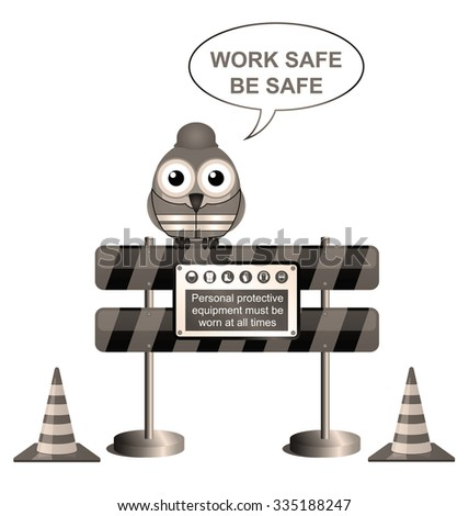 Sepia bird construction worker with work safe message isolated on white background - stock photo