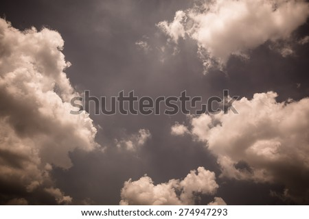 sepia color Clound in blue sky for background - stock photo