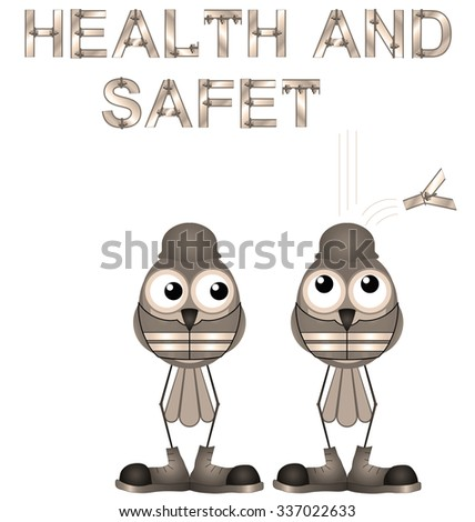 Sepia construction workers and health and safety sign isolated on white background - stock photo