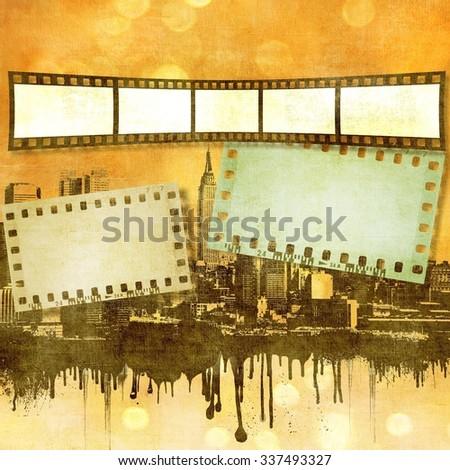 Sepia film strip background on dripping city skyline - stock photo