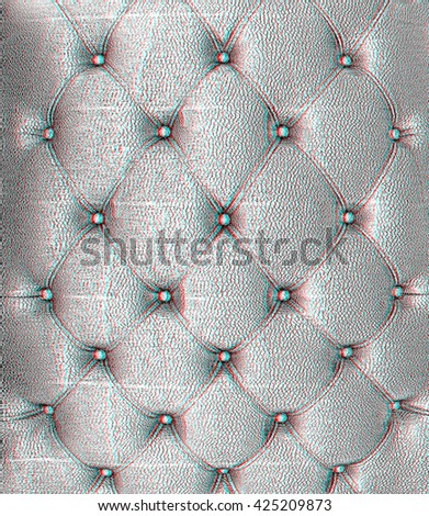 Sepia picture of genuine black leather upholstery . Pencil drawing. 3D illustration. Anaglyph. View with red/cyan glasses to see in 3D. - stock photo