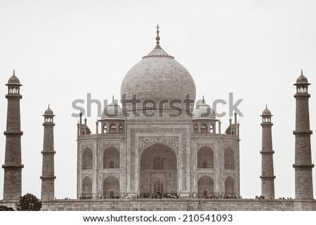 Sepia Taj Mahal on white background, Agra, Uttar Pradesh, India - stock photo