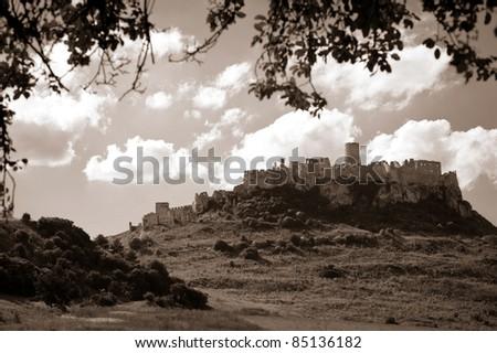 sepia tone picture of Spis castle, Slovakia - stock photo