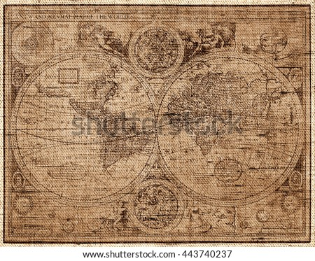 Sepia toned The world map in style of a copper engraving - Photo made with canvas texture effect  - stock photo