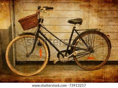 Sepia treated image of bicycle, Lille, France - stock photo