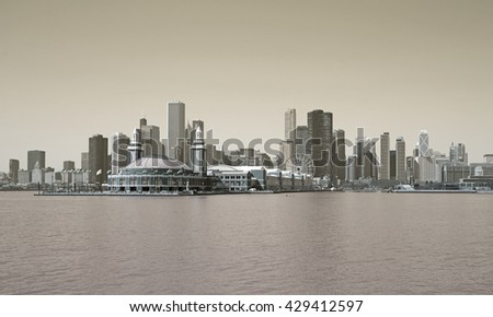 Sepia vintage skyline of Chicago city - stock photo